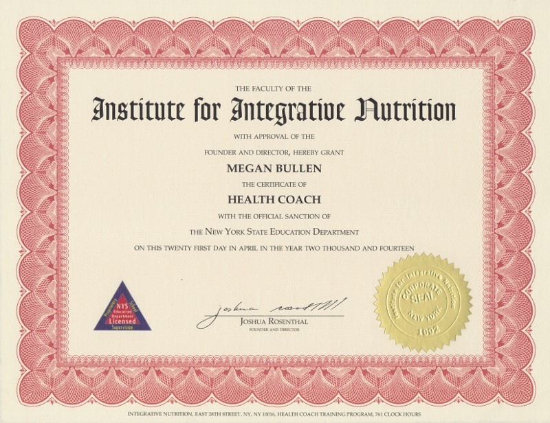 Institute For Integrative Nutrition Certified Health Coach